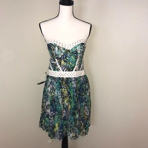 NWT Bebe Floral Print Studded Bustier Dress